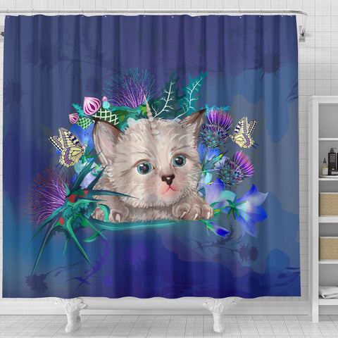 Scotland Shower Curtain - Scottish Fold Unicorn Horn And Bluebell Thistle A18
