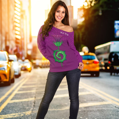 Image of 1stScotland Women's Off Shoulder Sweater - Thistle And Celtic Pattern | 1stScotland