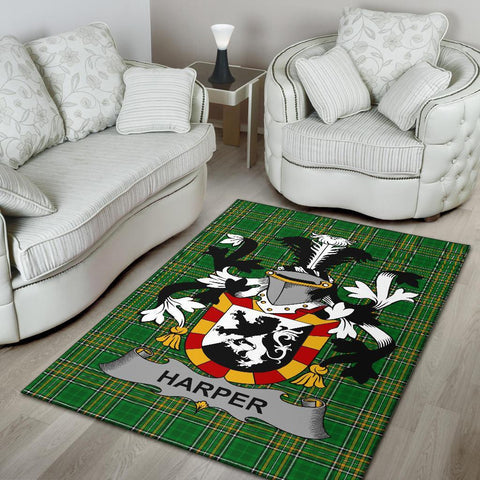 Harper Ireland Area Rug Irish National Tartan Irish Family Crest | Over 1400 Crests | Home Set | Home Decor