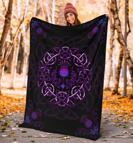 Scotland Premium Blanket - Purple Thistle Celtic