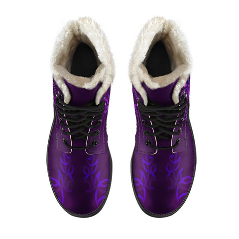 1stScotland Faux Fur Leather Boots - Scottish Purple Celtic Thistle | 1stScotland