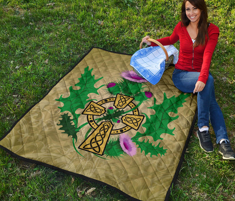 Scotland Premium Quilt - Thistle Celtic Cross