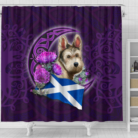 Scotland Shower Curtain Celtic Tree Of Life - Scottish Terrier And Thistle Moon Celtic A18.