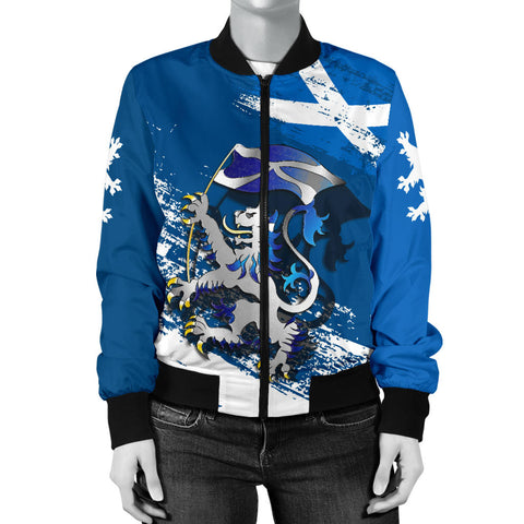 Scottish Rampant Lion Holding The Flag Women's Bomber Jacket