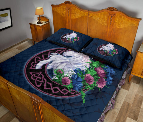 Scotland Quilt Bed Set - Unicorn Thistle And Moon Celtic A18