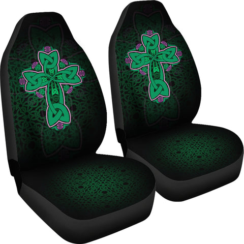 Celtic Cross With Flowers Thistle Car Seat Covers | High Quality