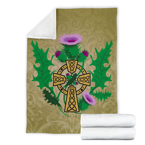Golden Thistle Celtic Cross Premium Blanket | Love Scotland