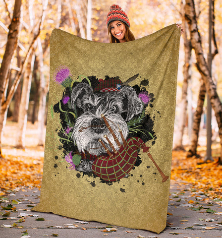 Image of Scotland Premium Blanket - Scottish Terrier And Thistle Vintage | Love The World