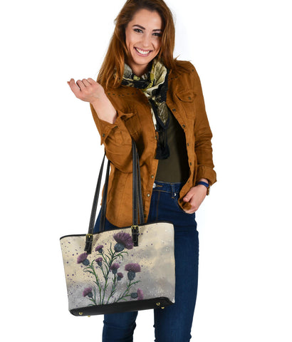 Scotland Small Leather Tote - Scottish Thistle Vintage A24