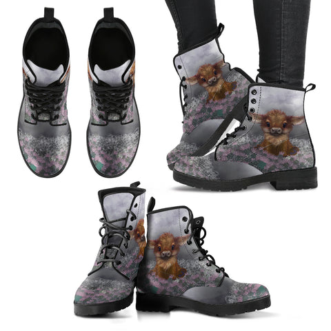 Scotland Leather Boots - Highland Cow Calf Thistle A24