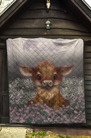 Scotland Premium Quilt - Highland Cow Calf Thistle A24