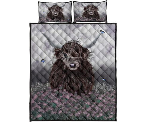 Scotland Quilt Bed Set  - Highland Cow Thistle A24