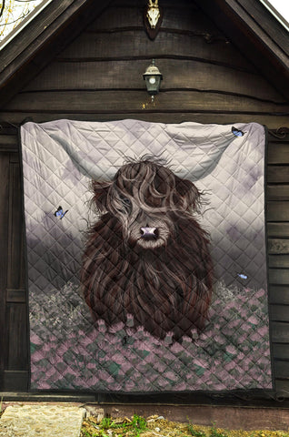 Scotland Premium Quilt - Highland Cow Thistle A24
