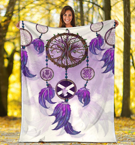 Image of Scotland Premium Blanket - Dream Catcher Celtic Tree Of Life White A24