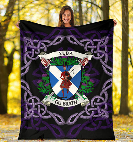Image of Scotland Premium Blanket - Celtic Thistle Bagpiper A24