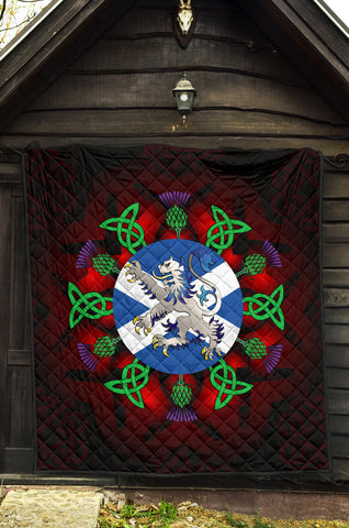 Scotland Premium Quilt - Scottish Flag Lion Thistle And Celtic A24