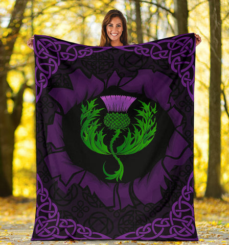 Scotland Premium Blanket - Celtic Thistle Purple A24