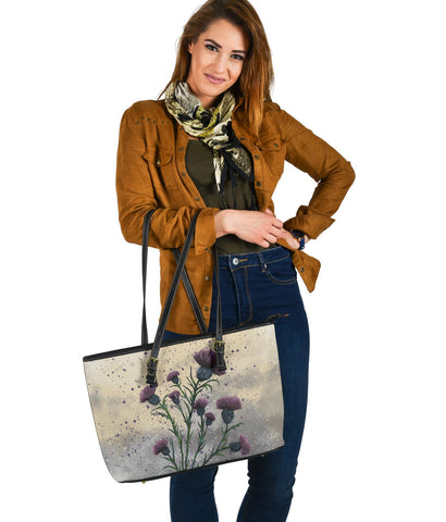 Scotland Large Leather Tote - Scottish Thistle Vintage A24