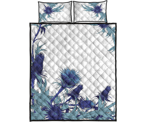 Scotland Quilt Bed Set - Luxury Blue Thistle | Love Scotland