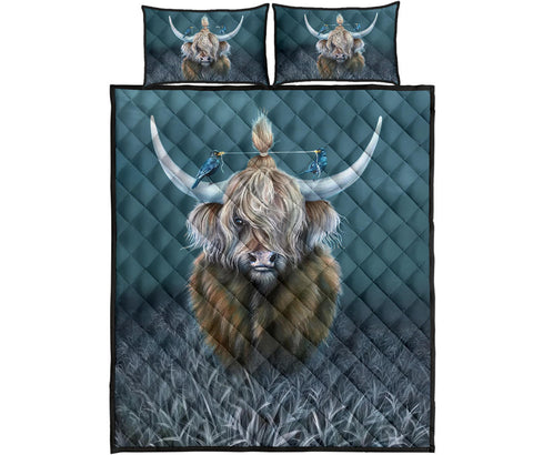 Scotland Quilt Bed Set - Highland Cow And Bird | Love Scotland