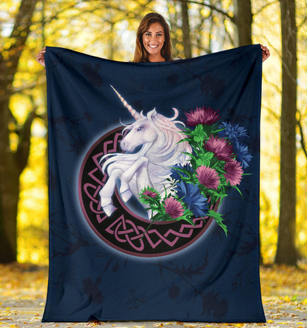 Scotland Premium Blanket - Unicorn Thistle And Moon Celtic A18