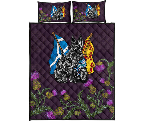 Image of Scotland Quilt Bed Set - Scottish Flag Royal Banner Terrier Thistle A24