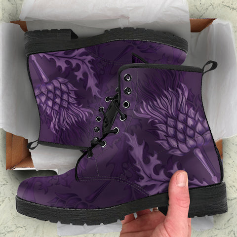 Abercrombie Crest Scottish Thistle Scotland Leather Boots Purple | Over 300 Clans