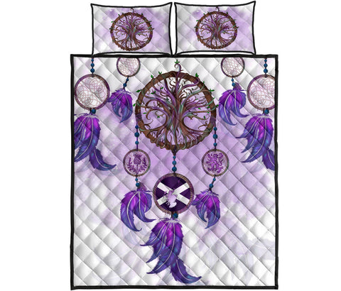 Image of Scotland Quilt Bed Set - Dream Catcher Celtic Tree Of Life White | Love Scotland
