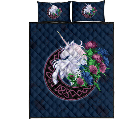 Scotland Quilt Bed Set - Unicorn Thistle And Moon Celtic