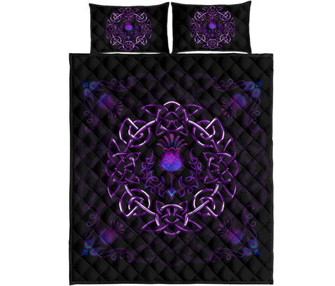 Scotland Quilt Bed Set - Purple Thistle Celtic | Love Scotland