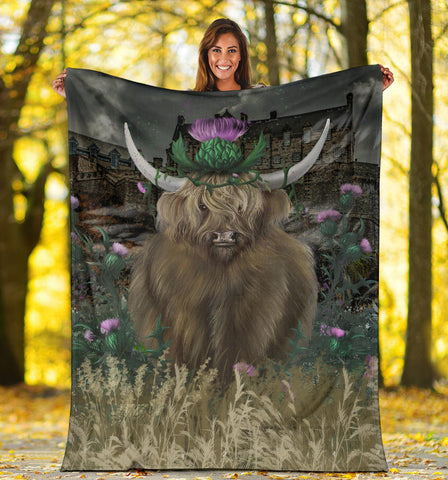 Image of Scotland Premium Blanket - Highland Cattle Thistle Edinburgh A24