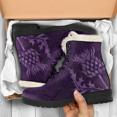 Scottish Clan Boots Garden (or Gardyne) Crest Thistle Faux Fur Leather Boots | Over 300 Clans