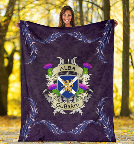 Image of Scotland Premium Blanket - Scotland Forever Flag Lion Thistle Purple (Alba GuBràth) A02