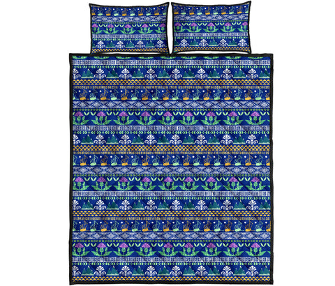 Scotland Quilt Bed Set - Blue Thistle Pattern | Love Scotland