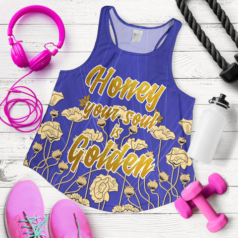 "1stScotland Women's Racerback Tank - ""Honey Your Soul Is Golden"" & Luckenbooth A25"