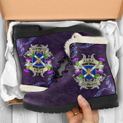 Image of Scotland Faux Fur Leather Boots - Scotland Forever Flag Lion Thistle Purple (Alba GuBràth) A02