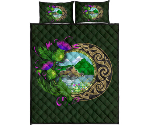 Scotland Quilt Bed Set - Edinburgh Thistle Green | Love Scotland