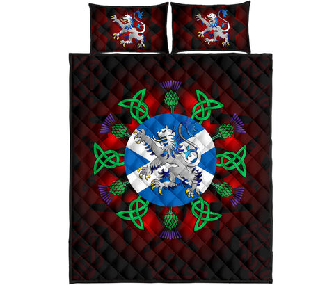 Scotland Quilt Bed Set - Scotland Flag Lion Thistle And Celtic A24