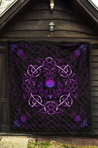 Image of Scotland Premium Quilt - Purple Thistle Celtic