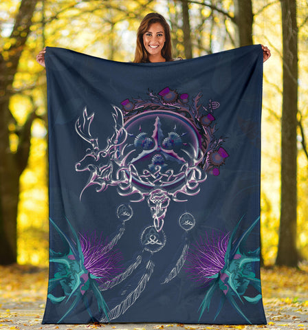 Scottish Thistle Premium Blanket - Scottish Red Deer Celtic Dream Catcher A18