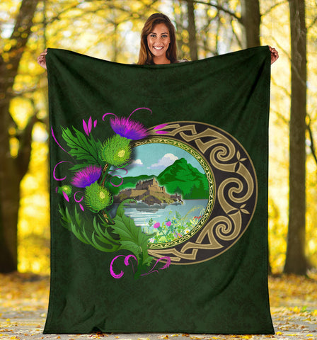 Scotland Premium Blanket - Edinburgh Thistle Green A24