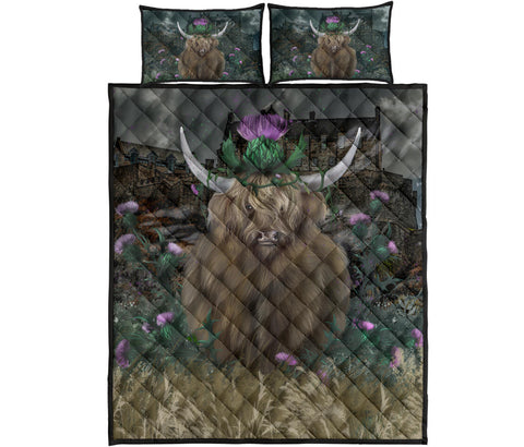 Image of Scotland Quilt Bed Set - Highland Cattle Thistle Edinburgh | Love Scotland