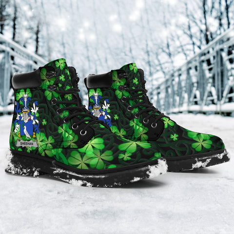 Image of Sheehan or O'Sheehan Ireland Boots Irish Celtic Shamrock Knot Circle - All-Season Boots (Women's/Men's) | Over 1400 Crests | Shoes | Footwear