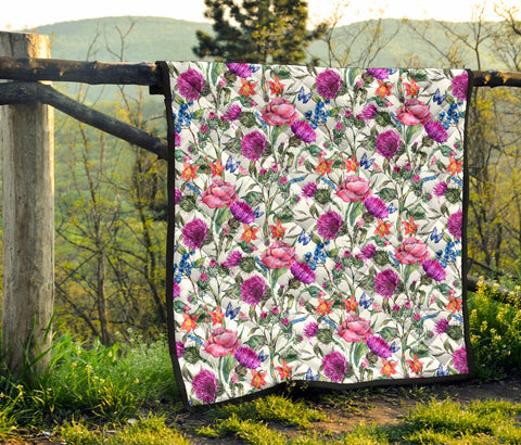 Scotland Premium Quilt - Scottish Thistle 18th Pattern