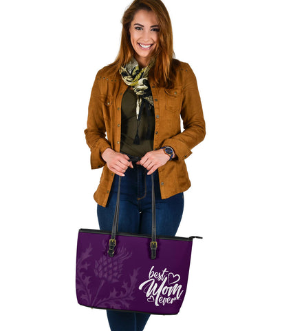Mother's Day Scotland Leather Tote Bag Scottish Purple Thistle (Large) A7