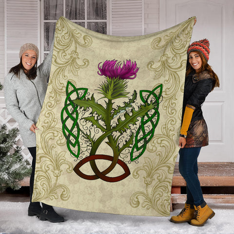 Image of Scotland Premium Blanket - Thistle Celtic Knot Beige A24