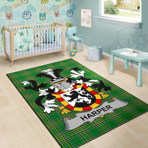 Image of Harper Ireland Area Rug Irish National Tartan Irish Family Crest | Over 1400 Crests | Home Set | Home Decor