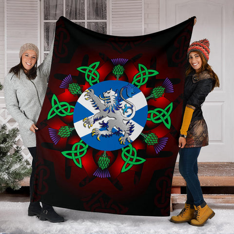 Scotland Premium Blanket - Lion Thistle And Celtic A24