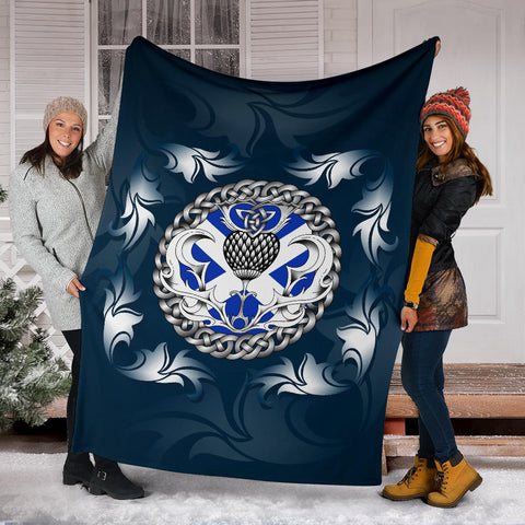 Scotland Premium Blanket - Scottish Flag and Celtic Thistle - Blue A18