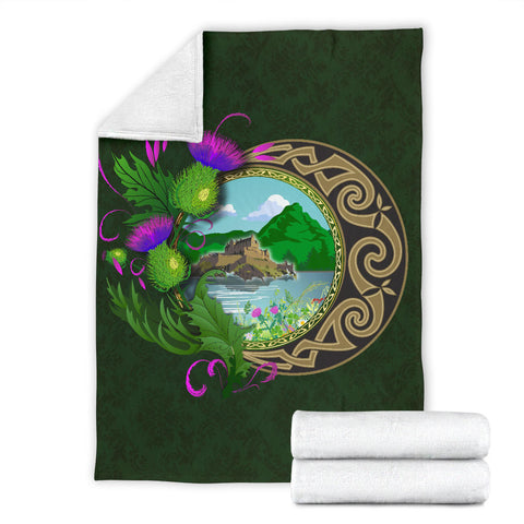 Image of Scotland Premium Blanket - Edinburgh Thistle Green A24